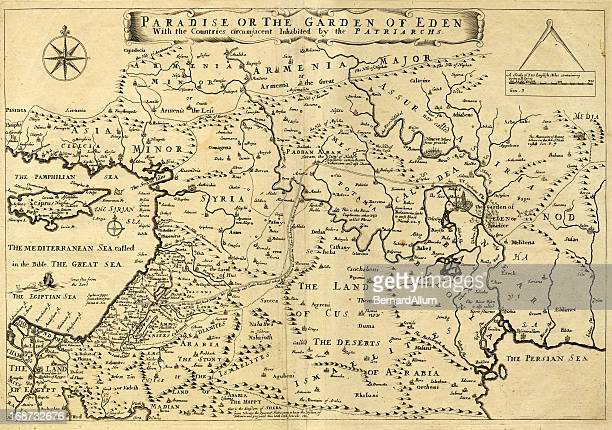 Antiguo Mapa de Oriente Medio, Garden of Eden, 1.675