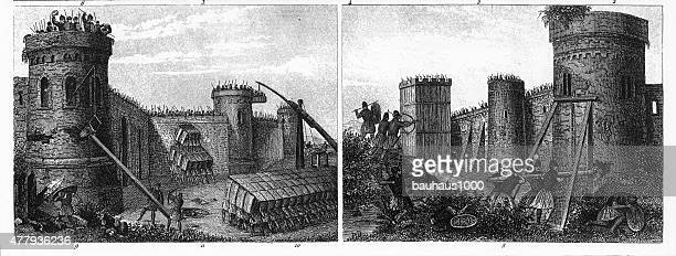 Military Structures and War Engines of the Middle Ages Engraving