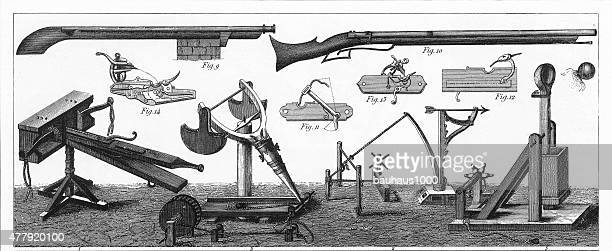 Military Weapons and War Machines of the Middle Ages Engraving