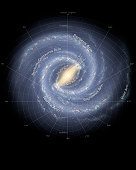 Using infrared images from NASA's Spitzer Space Telescope, scientists have discovered that the Milky Way's elegant spiral structure is dominated by just two arms wrapping off the ends of a central bar