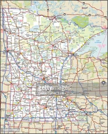 Minnesota Highway Map Vector Art Getty Images - Minnesota highway map