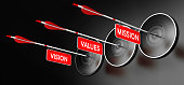3D illustration of arrows with red signs where it is written vision, mission and values hitting modern targets over black background. Company statements concept, horizontal image.