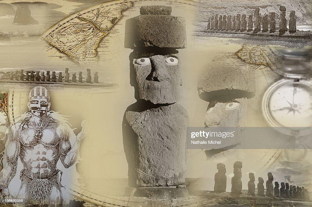 Moai in Easter Island : Stock Illustration