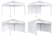 Mobile tent advertising marquee. Promotional advertising outdoor event trade show. Isolated on white. 3d image set.