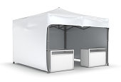 Mobile tent advertising marquee with counter. Promotional advertising outdoor event trade show. Isolated on white. 3d image.