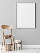 Mock up poster, furniture composition , wooden chair and old books, 3d render, 3d illustration