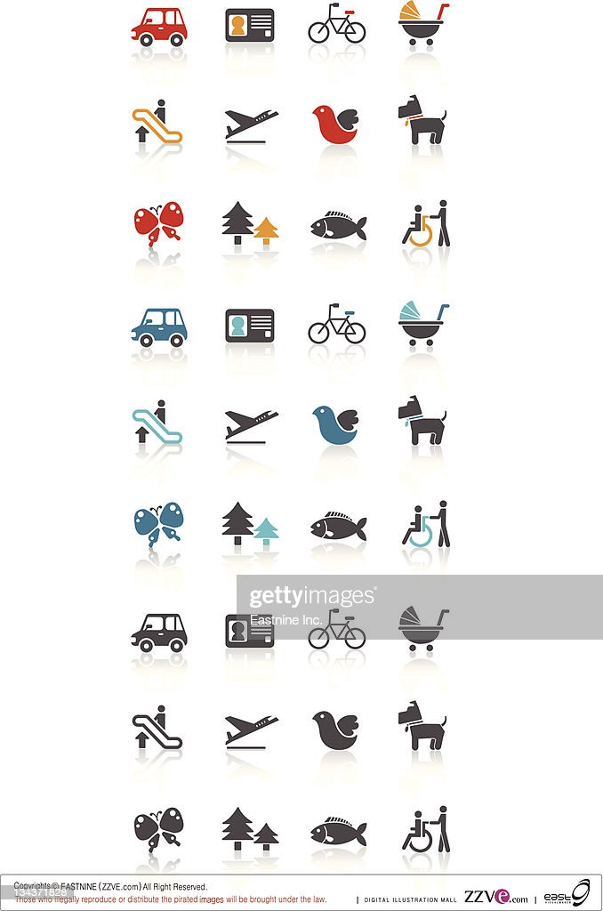 Mode of transportation set icon : Vector Art