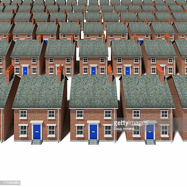 Model detached houses lined up in rows