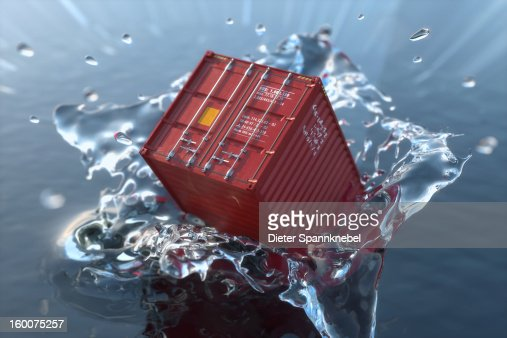 Model of a freight container falling into water : Stock Illustration