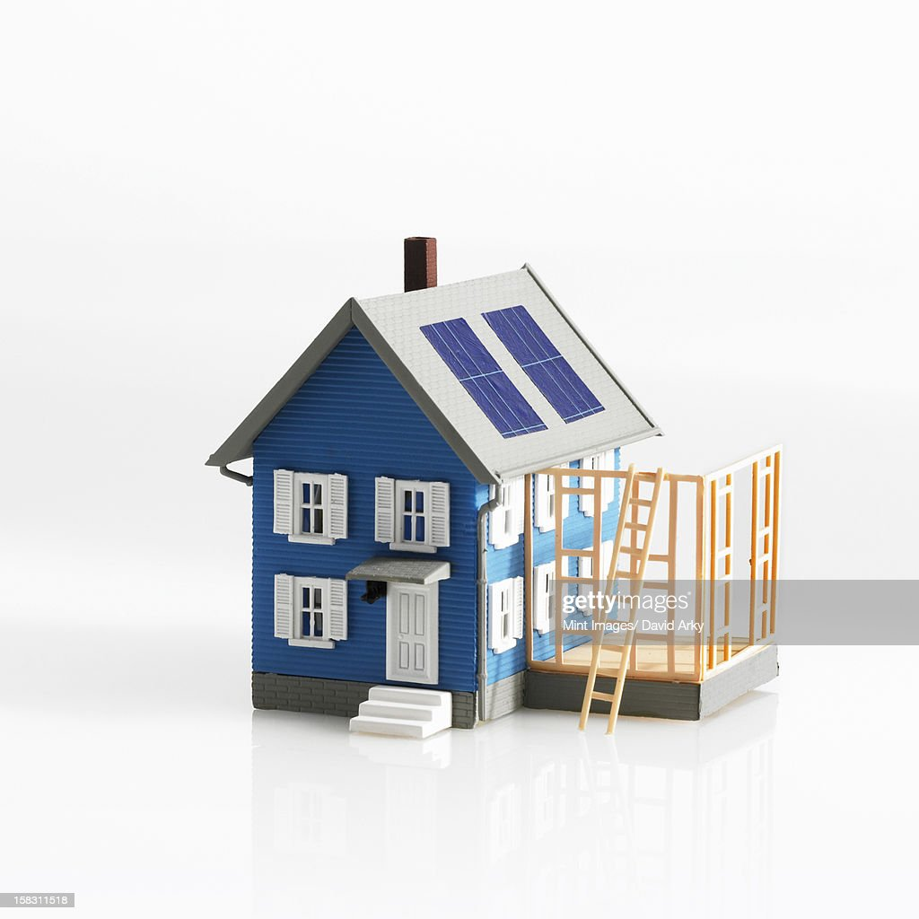 A model of a traditional house, with terrace or framework of an extension. : Stock Illustration