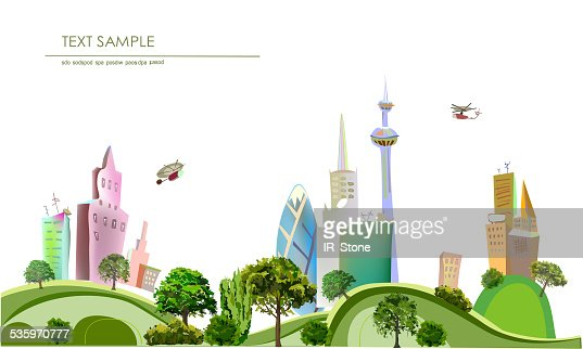 Modern city on the green hills : Stock Illustration