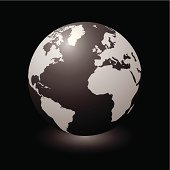 Modern globe with light shadow and black background