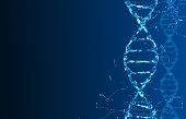 DNA molecules on a dark background. Molecular structure