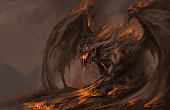 molten rock dragon rising from stones