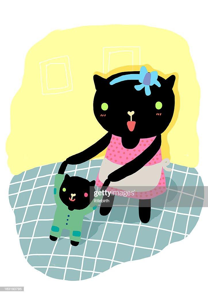 mom teaches me : Stock Illustration