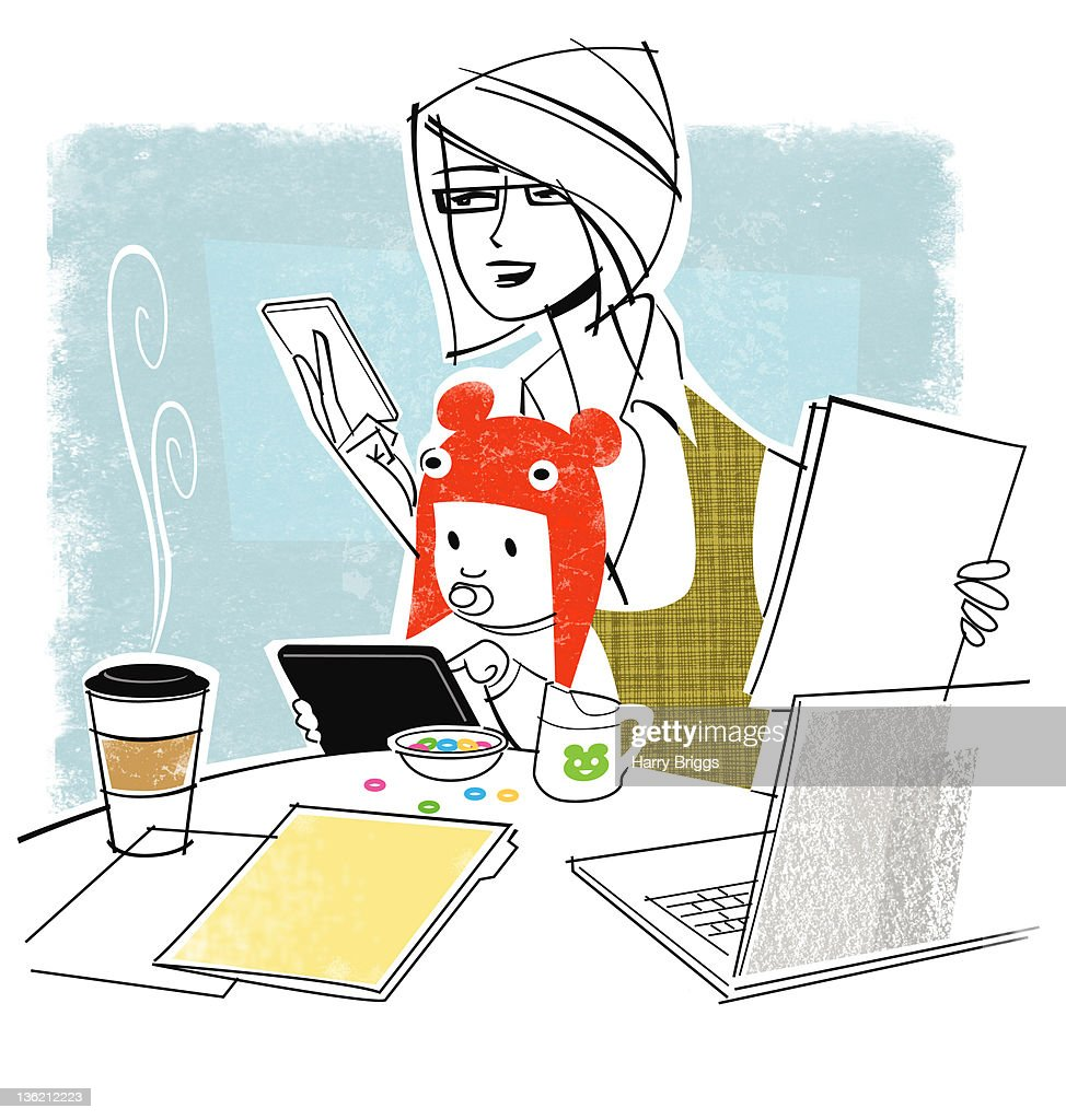 Mom working with Baby on Lap. : Stock Illustration