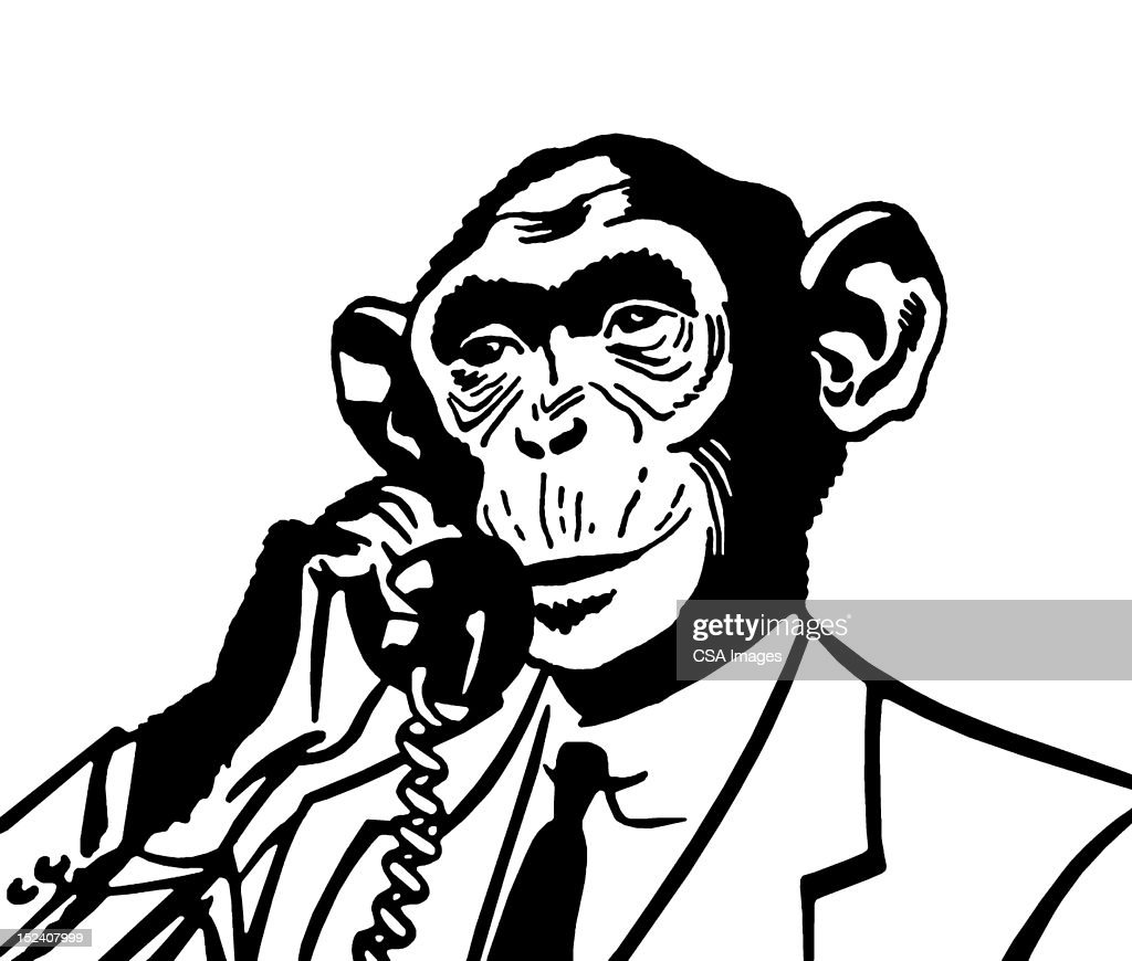 Monkey on The Telephone : Stock Illustration