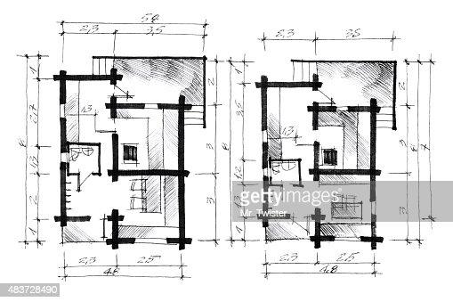 Monochrome Croquis Dun Plan De Maison Illustration  Thinkstock