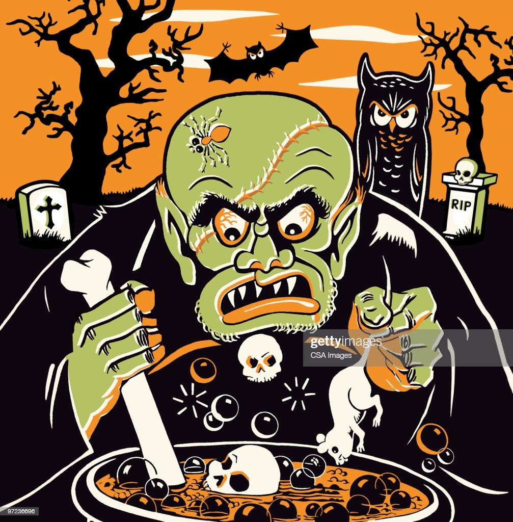Monster at Cauldron on Halloween : Stock Illustration
