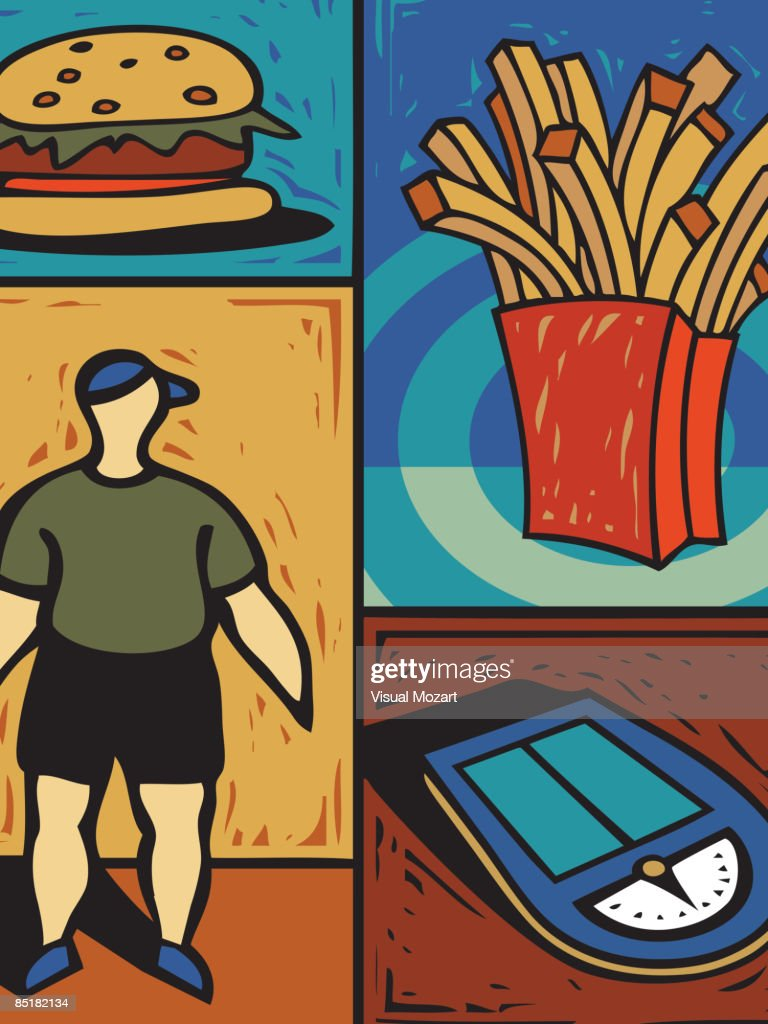 Montage of a hamburger, french fries, a scale, and an overweight person : Vector Art