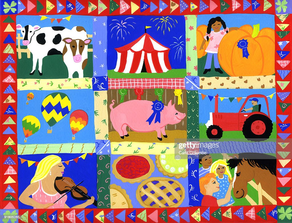 A montage of county fair events and animals : Stock Illustration