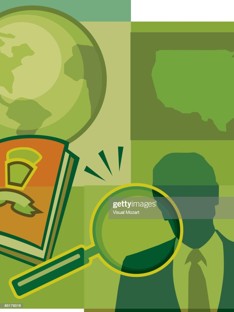 A Montage Of The Earth The Us Map A Man A Magnifying Glass And A - Man in the us map