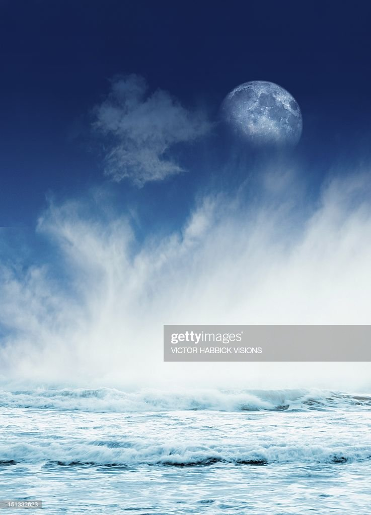 Moon and the tides, artwork : Stock Illustration