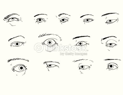 how to draw a squinting eye