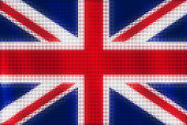 Mosaic heart tiles painting of Great Britain flag blown in the wind, love patriotic concept.