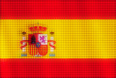 Mosaic heart tiles painting of Spanish flag blown in the wind, love patriotic concept.
