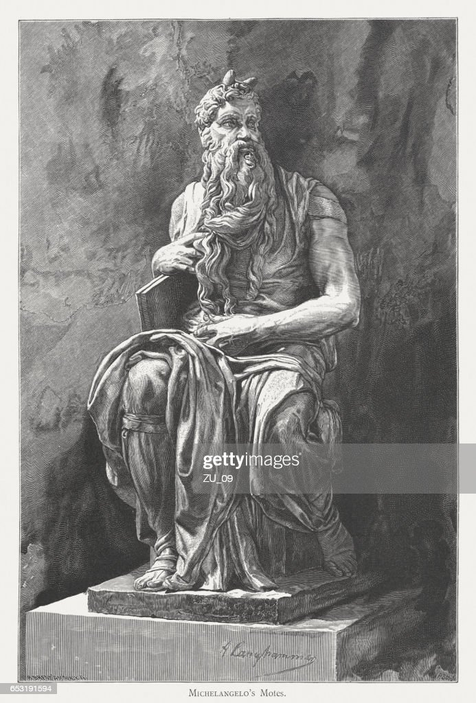 Moses, created (c.1513/15) by Michelangelo, San Pietro in Vincoli, Rome : Stock Illustration