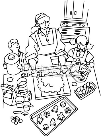 Mother And Children Baking Cookies Also Available In Color