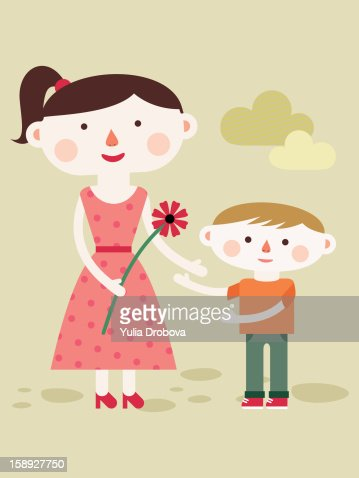 A mother holding a flower while standing next to her son : Stock Illustration