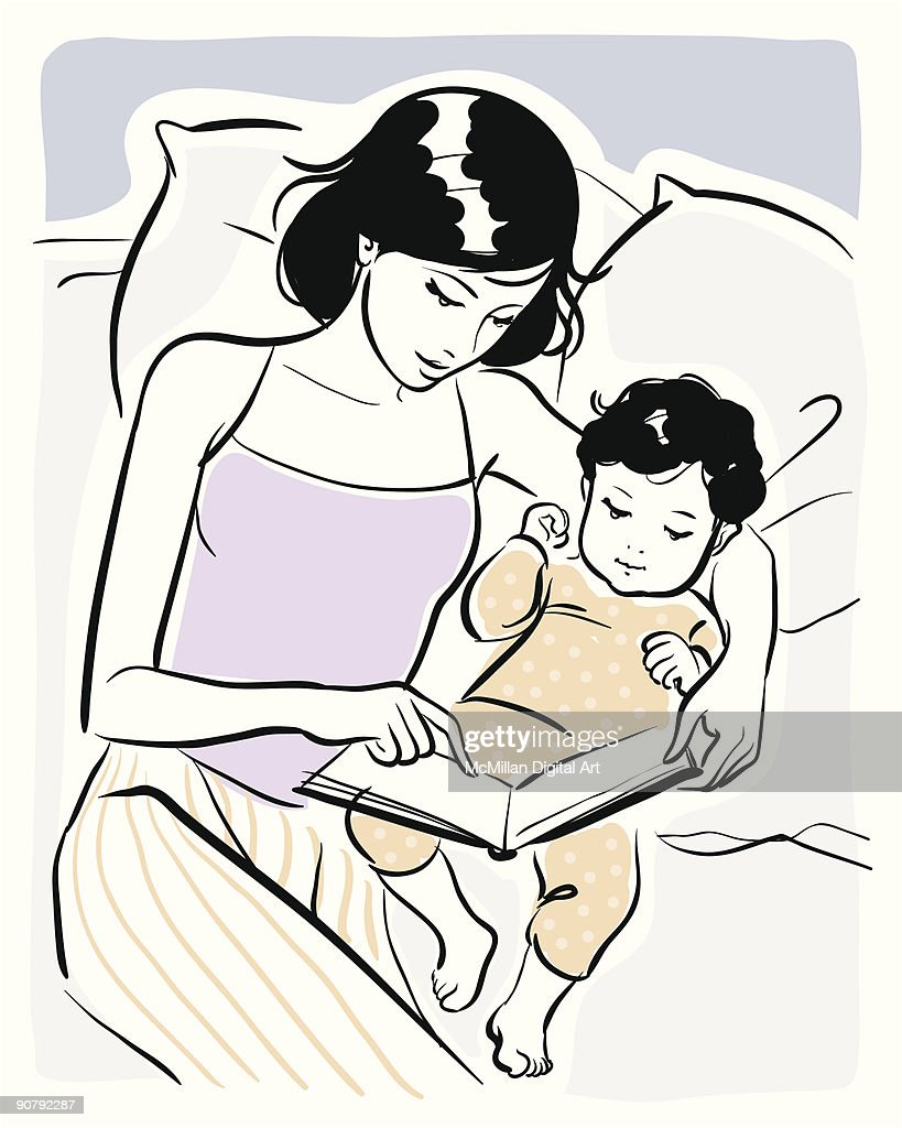 Mother reading book to child : Vector Art