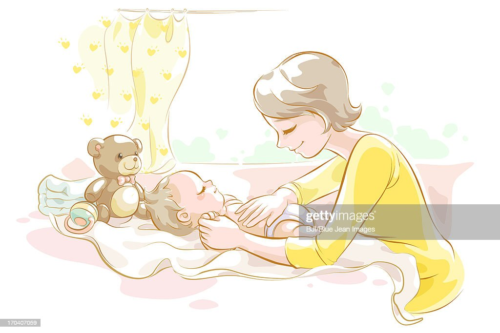 Mother taking care of baby : Stock Illustration