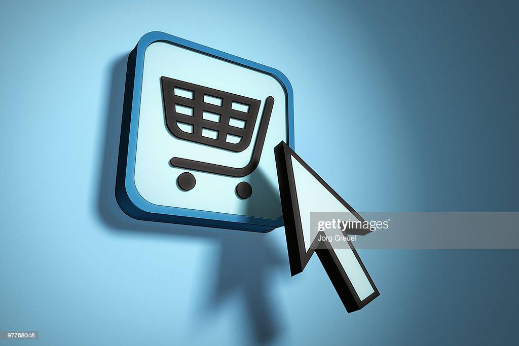 Mouse pointer hitting shopping cart icon : Stock Illustration
