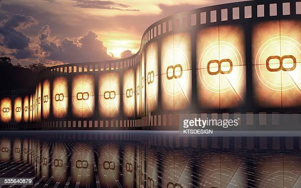 Movie reel at sunset, illustration