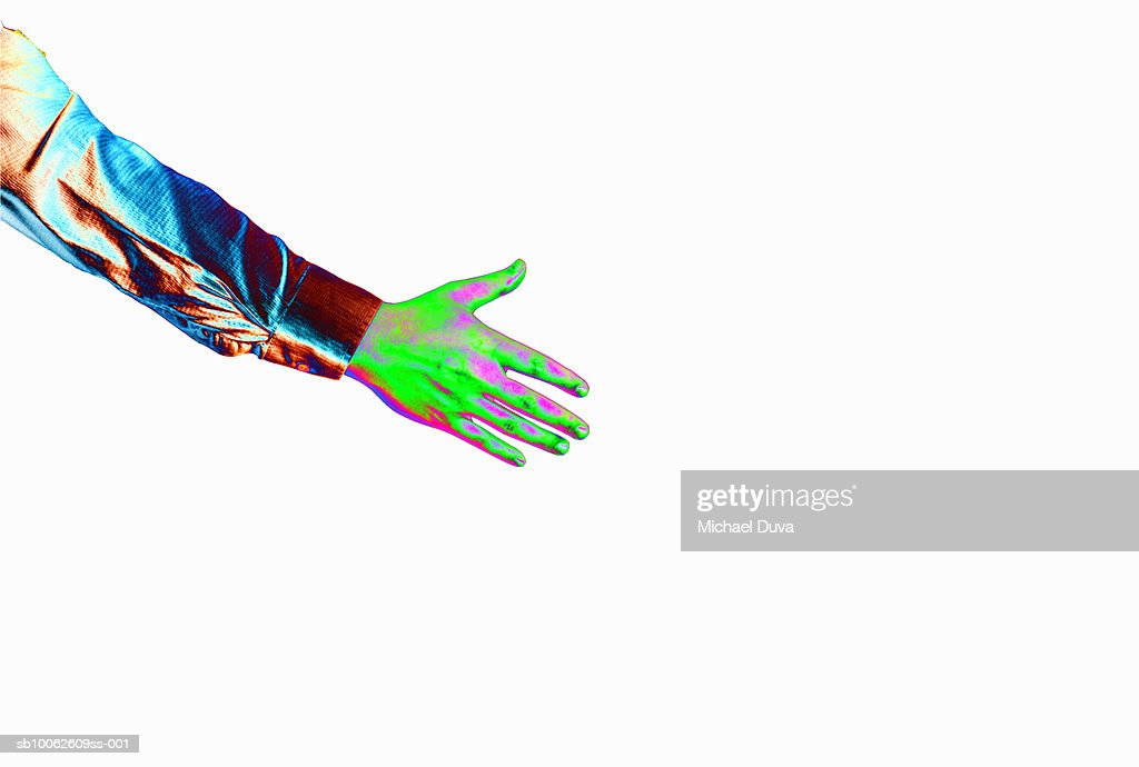 Multi colored hand against white background : Stock Illustration