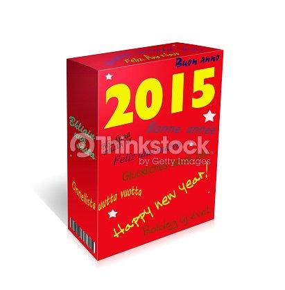 Mehrsprachige Frohes Neues Jahr Gruß Weckenbox Stock-Illustration ...