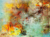 multicolor subdued fall mixed media in different tones of yellow, brown and light blue and circle grid textures added
