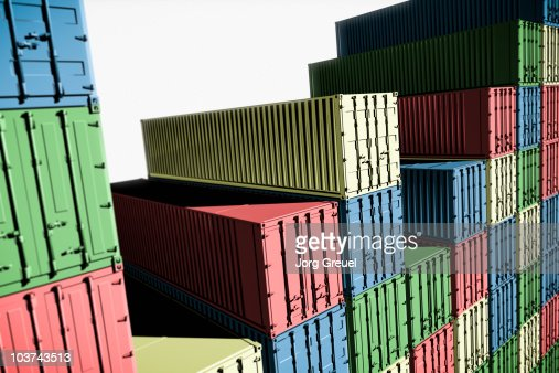 Multicolored cargo containers : Stock Illustration