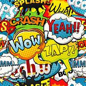 Multicolored comics speech bubbles seamless pattern illustration