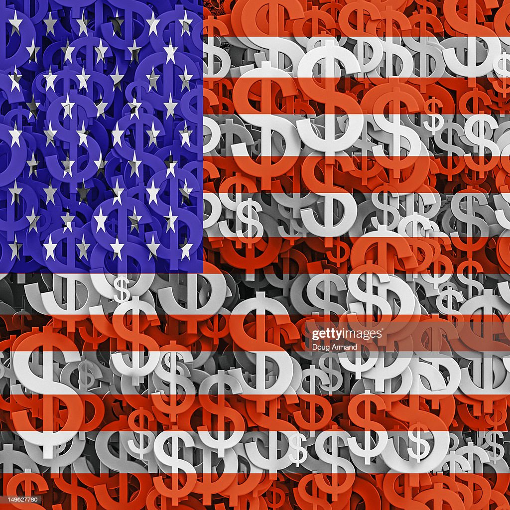 Multiple dollar currency symbols and US flag : Stock Illustration