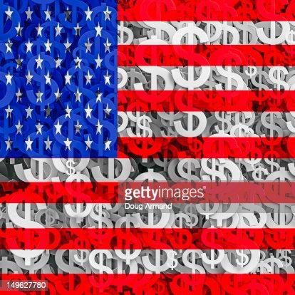 Multiple dollar currency symbols and US flag : Ilustración de stock