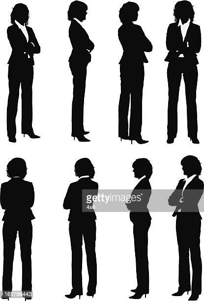 Multiple images of a businesswoman with arms crossed