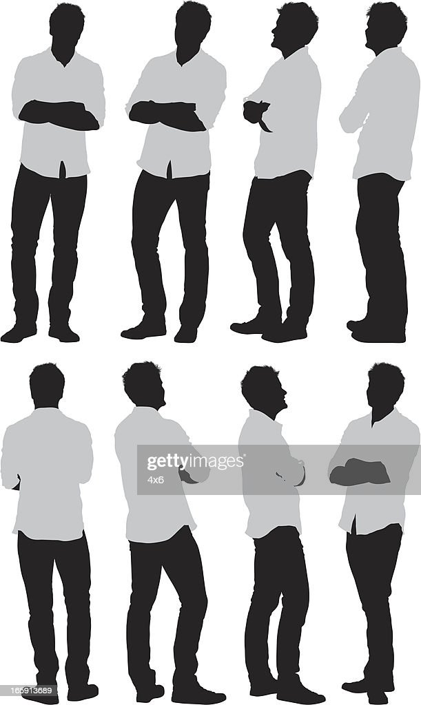 Multiple images of a man with his arms crossed : Vector Art