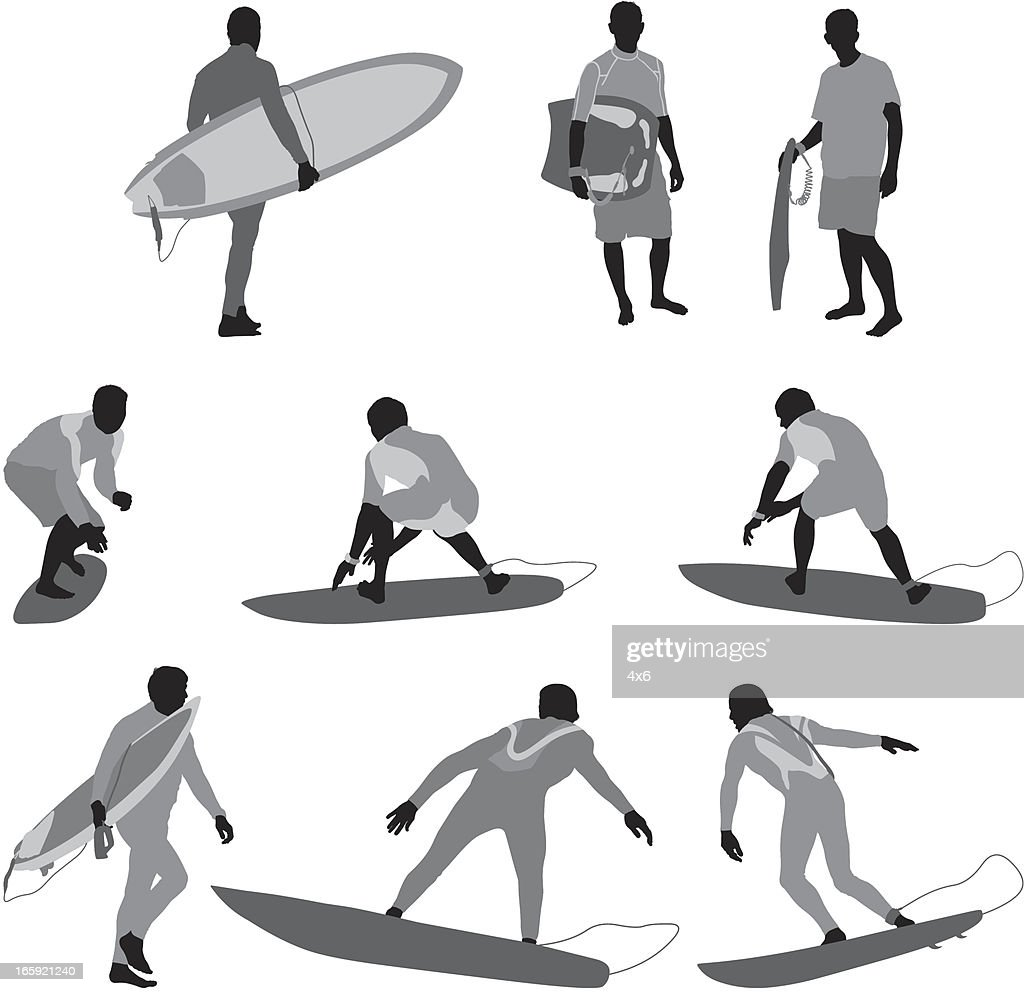 Multiple images of a man with surfboard : Vector Art