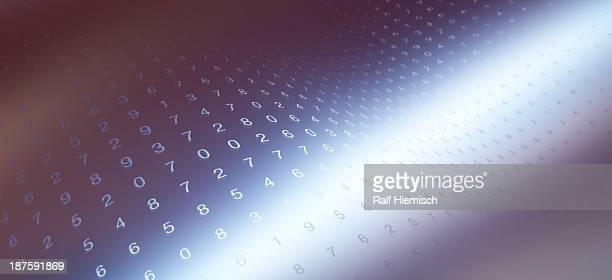 Multiple rows of random numbers on a curving chrome surface