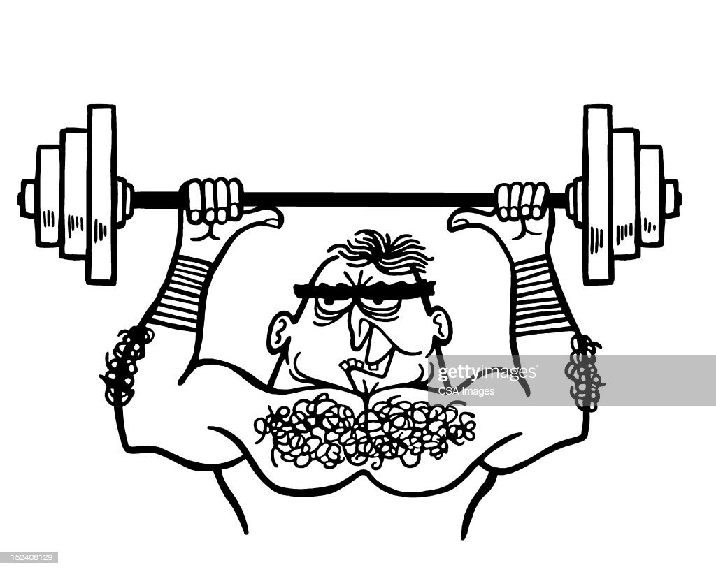 Muscle Man Lifting Weights : Stock Illustration