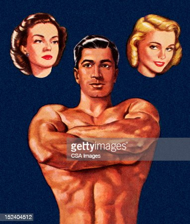Muscle Man Thinking About Two Women : Stock Illustration
